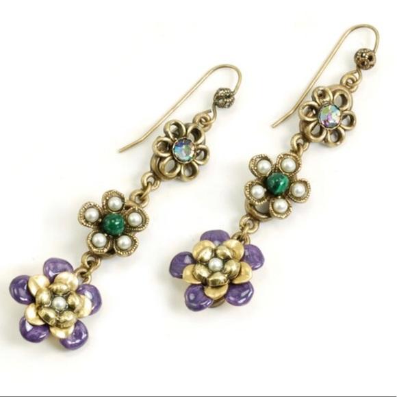 olli Jewelry - Triple Enameled Flower Dangle Earring,NWT